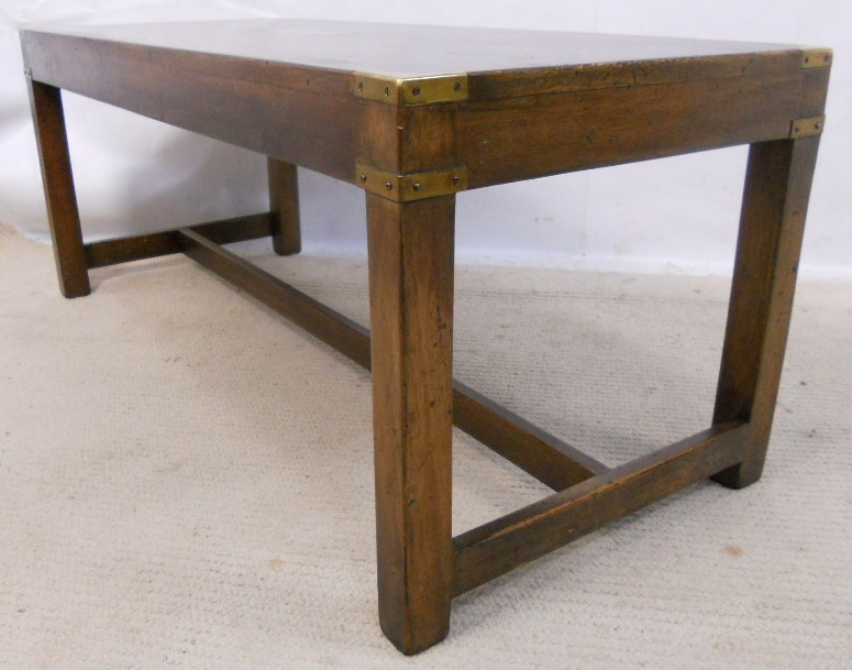 Long Mahogany Coffee Table With Brass Corners Sold